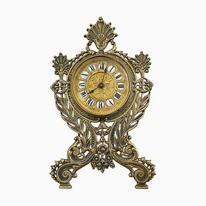 19th Century Ornate Brass Desk Clock