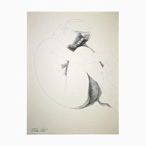 Emilio Greco, Nude en cuclillas, Original China Ink Drawing, 1974