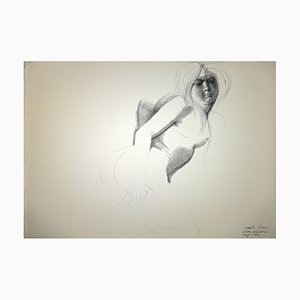 Emilio Greco, Nude, China Ink Drawing, 1972