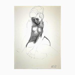 Emilio Greco, Nude of Woman, Original China Ink Drawing, 1973