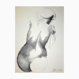 Emilio Greco, Akt von hinten, Original China Tusche Zeichnung, 1972
