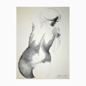 Emilio Greco, Nude from the Back, Original China Ink Drawing, 1972