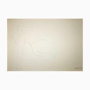 Emilio Greco, Lying Nude, Original China Ink Drawing, 1969