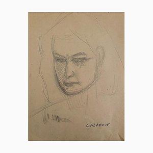 Raymond Cazanove, Portrait, Pencil Drawing, 1940