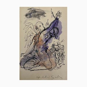 Madeleine Scellier, The Angels, China Ink and Watercolor, 1955