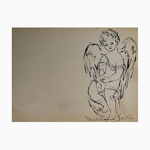 Madeleine Scellier, The Angels, China Ink, 1955