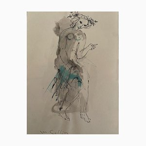 Madeleine Scellier, Figure, China Ink and Watercolor, 1955