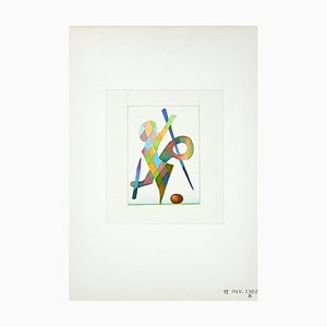 Leo Guida, Abstraktes Spiel, Aquarell, 1970er