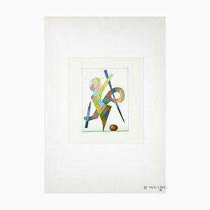 Leone Guida, gioco astratto, acquerello, anni '70