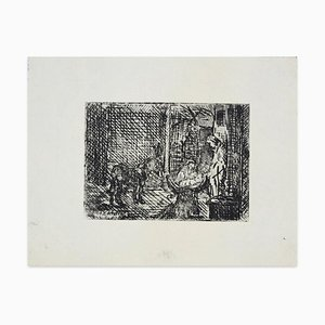 Raymond Cazanove, Nativity, Etching, 1945