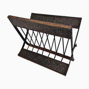 Italian Decorated Brass & Wood Folio Stand Magazine Rack, 1960s