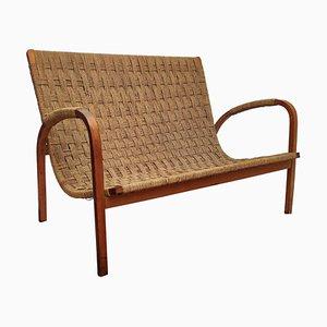 Italienische Mid-Century Sitzbank aus Holz & Schnur, 1960er