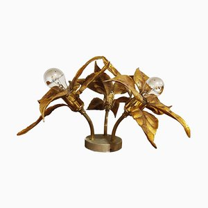Brass Flower Table or Ceiling Light by Willy Daro, 1970s