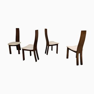 Vintage Wooden Dining Chairs, 1970s, Set of 4