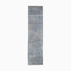 Vintage Blue Overdyed Runner Rug