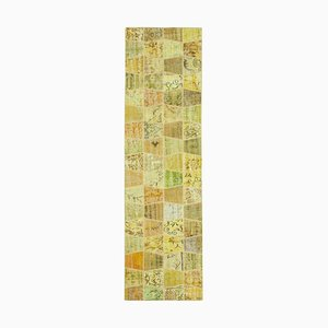 Vintage Yellow Patchwork Runner Rug