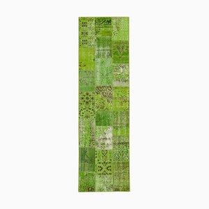 Vintage Green Patchwork Runner Rug