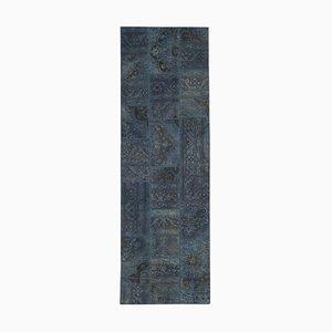 Vintage Blue Patchwork Runner Rug