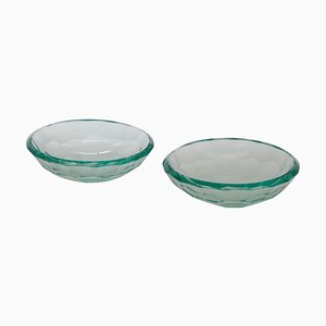 Glass Beveled Bowls or Vide Poche, Italy, 1960s, Set of 2