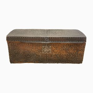 Antique French Brass Studded Leather Bound Trunk