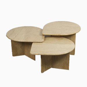 Travertine Couchtische, 3er Set