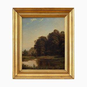 Frederik Christian Jakobsen Kiærskou, Landscape with Deer & Pond