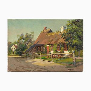 Harald Pryn, Dänisches Dorf mit Reetdachhaus