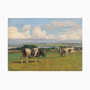 Rasmus Christiansen, paisaje pastoral con toro y vacas en pastoreo