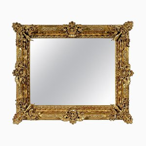 Rectangular Handcrafted Gold Foil Wood Mirror, 1970s