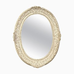 Neoclassical Empire Oval Silver Hand Carved Wooden Mirror, Spain, 1970s