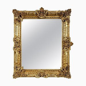 Regency Rectangular Handcrafted Gold Foil Wood Wall Mirror, 1970s