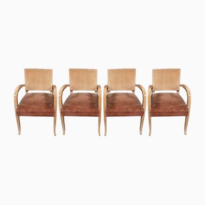Art Deco Sycamore & Alcantara Bridge Lounge Chairs, 1940s, Set of 4