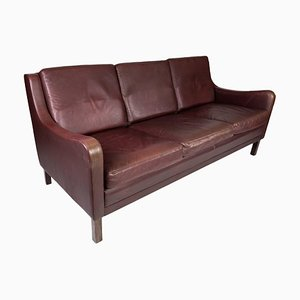 3-Seat Sofa with Red Brown Leather from Stouby Furniture, 1960s