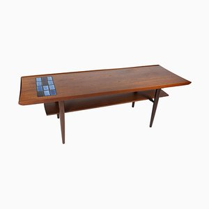 Coffee Table in Teak with Blue Tiles, 1960s