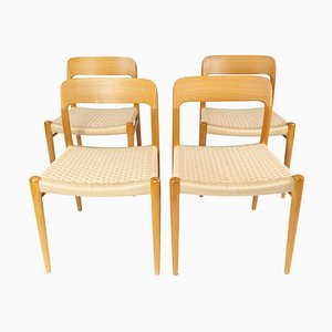 Model 75 Dining Chairs in Oak & Paper Cord by N.O. Møller, Set of 4