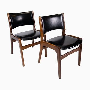 Teak and with Black Leather Chairs by Erik Buch, 1960s, Set of 2