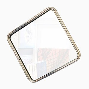 Mid-Century Modern Square Mirror with Chrome Tube Frame, 1970s