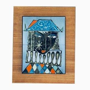 Vintage Italian Ceramic Art Blue Harlequin Tile Panel, 1960s