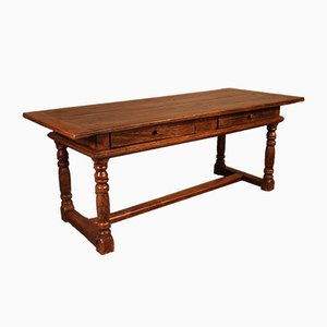 Antique Spanish Oak Dining Table with 2 Drawers, 1600s