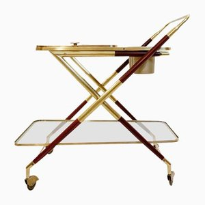 Italian Brass & Mahogany Bar Cart with Removable Tray by Cesare Lacca, 1950s