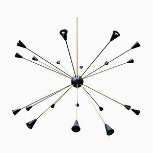 Große Messing & Metall Sputnik Deckenlampe, 1960er
