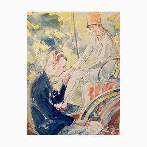 Watercolor Drawing, Encounter, Willi Jennrich