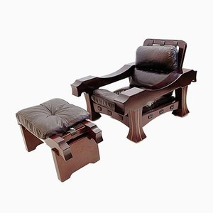 Large Italian Mahogany & Black Leather Ussaro Armchair & Ottoman by Luciano Frigerio, 1970s, Set of 2