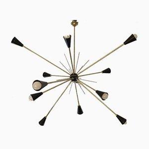 Messing Sputnik Deckenlampe, 1950er
