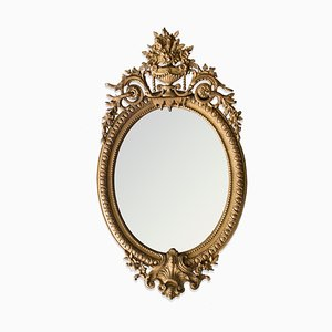 Large French Oval Mirror, 1800s