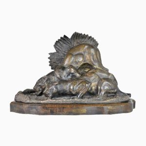 Chossat Et Fils, Panthers at the River, Large Terracotta, Art Nouveau, 20th Century
