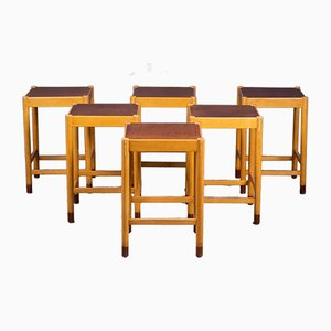 Mid-Century Danish Beech & Teak Stools, 1960s, Set of 6