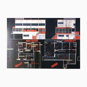Proyecto de arquitecto Bauhaus Villa Blueprint de Marcel Seger, años 30. Juego de 2