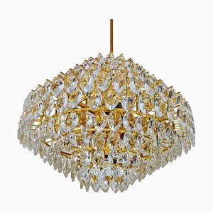 Large Mid-Century Gilded Brass & Crystal Pendant Lamp from Bakalowits & Söhne, 1960s