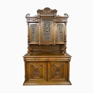 Renaissance Style Carved Walnut Buffet with Mythological Design, 1850s